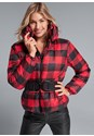 Cropped Front View Plaid Print Puffer Jacket