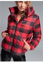 Alternate View Plaid Print Puffer Jacket