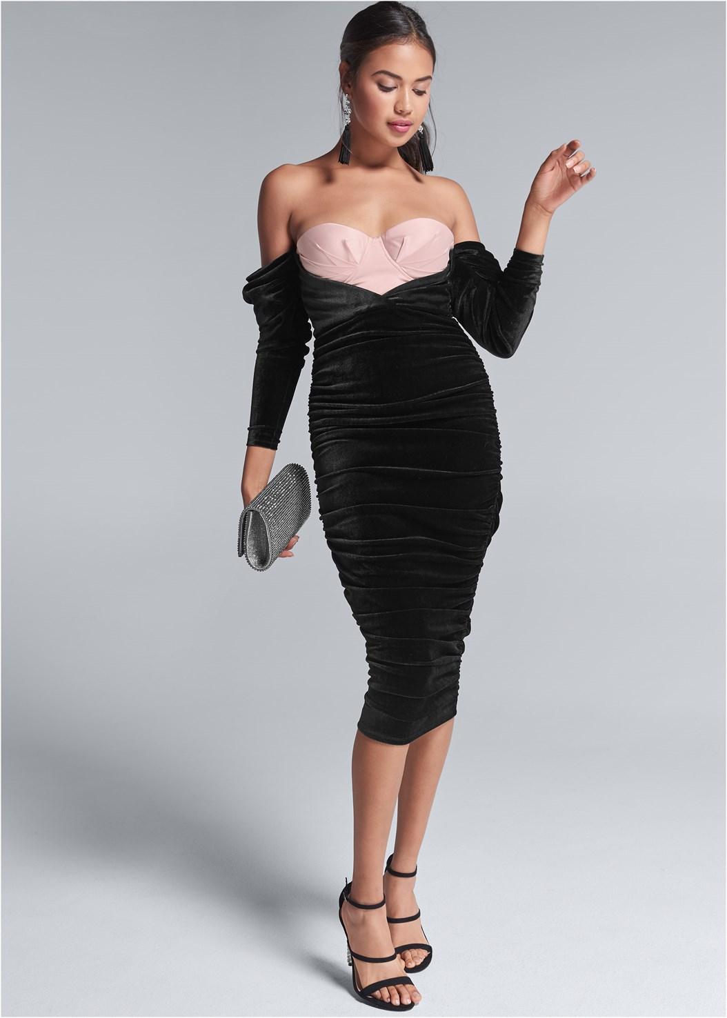 Velvet Bodycon Dress,Embellished Strappy Heel,Jewel Fringe Earrings,Rhinestone Clutch