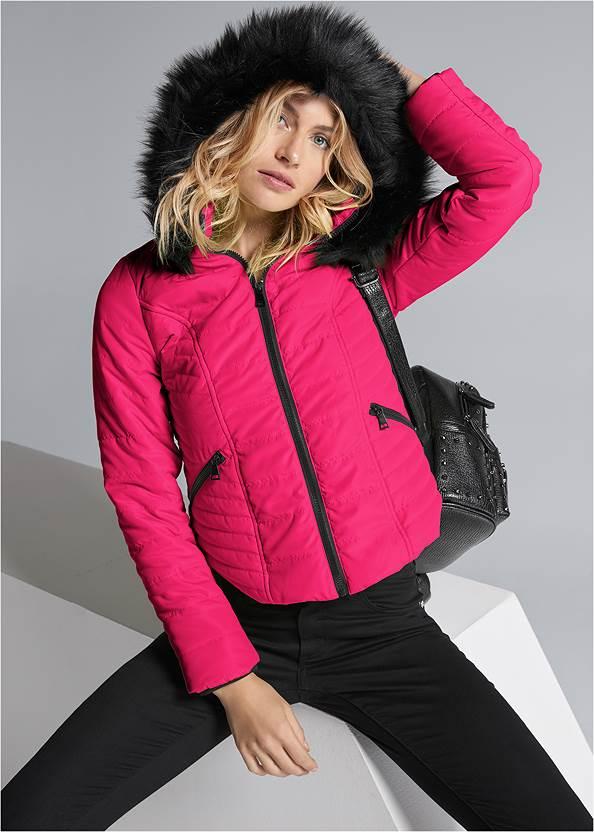 Faux Fur Trim Puffer Jacket,Mid Rise Color Skinny Jeans