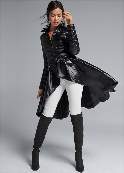 RUFFLE HEM PUFFER JACKET,SLIMMING STRETCH JEGGINGS,CUT OUT DETAIL BOOTS,STUD DETAIL SCARF