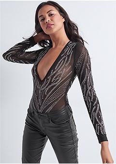 embellished deep v bodysuit