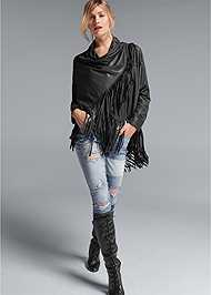 Alternate View Faux Leather Poncho