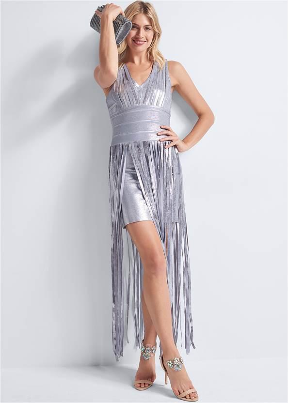 Metallic V Neck Dress,Rhinestone Clutch