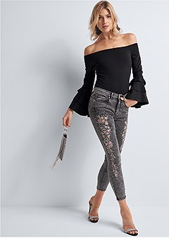 cut out detail jeans