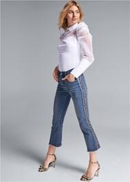 Waist down side view Tweed Stripe Jeans