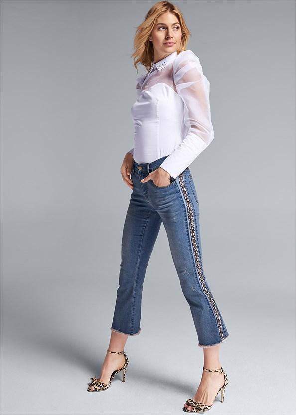 Tweed Stripe Jeans,Puff Sleeve Blouse,Bow Detail Print Heels