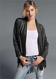 Front View Faux Leather Poncho