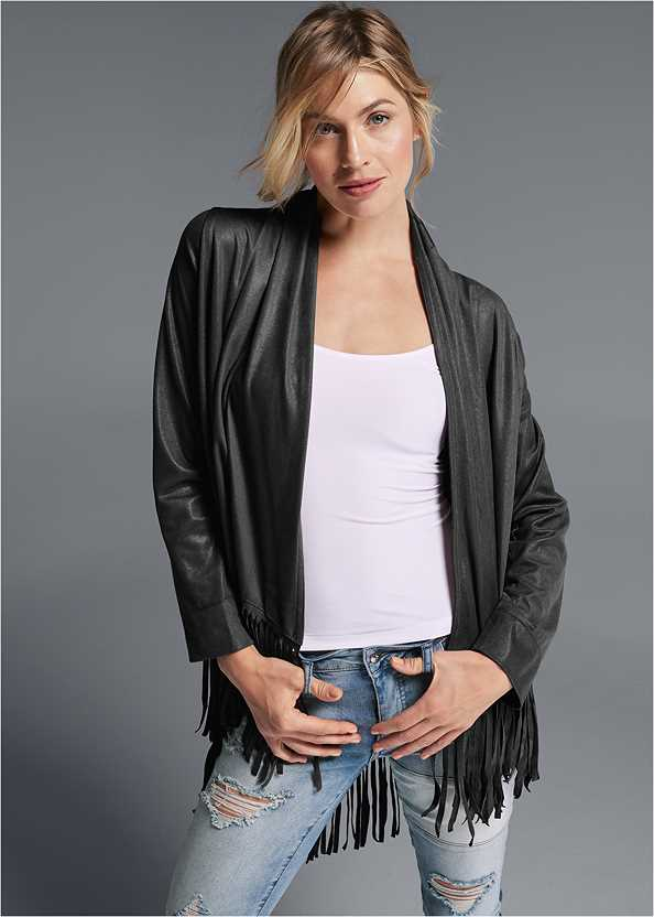 Faux Leather Poncho,Basic Cami Two Pack,Distressed Patchwork Jeans
