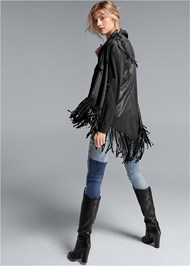 Back View Faux Leather Poncho
