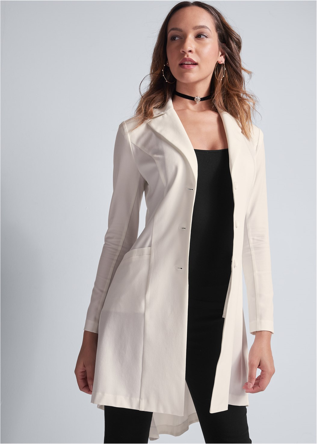 Back Detail Long Blazer,Seamless Cami,Mid Rise Slimming Stretch Jeggings