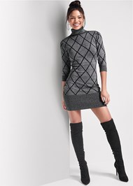 Front View Turtleneck Sweater Dress