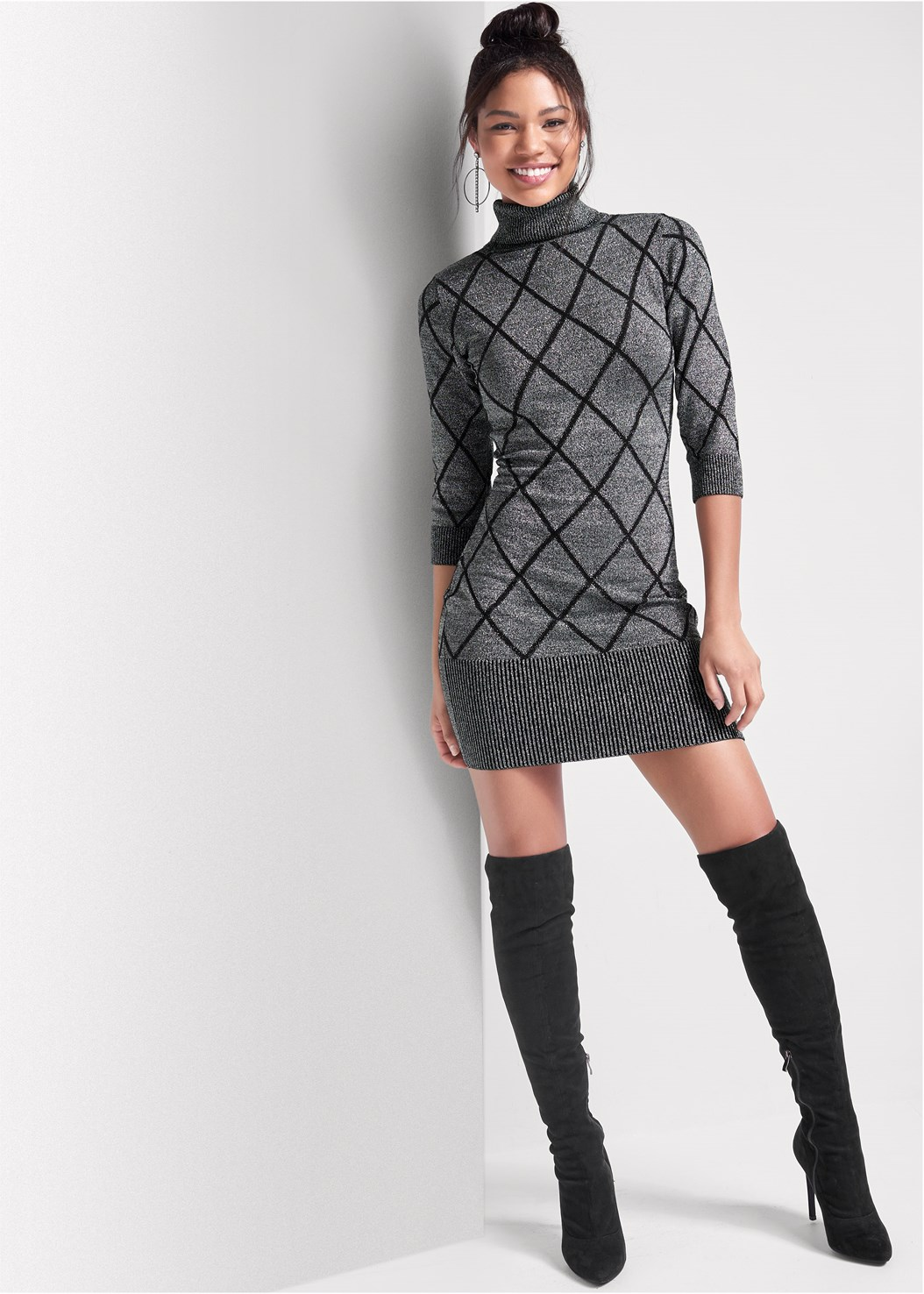 Turtleneck Sweater Dress,Cut Out Detail Boots,Block Heel Boots,Heel Embellished Boot,Tie Back Boots