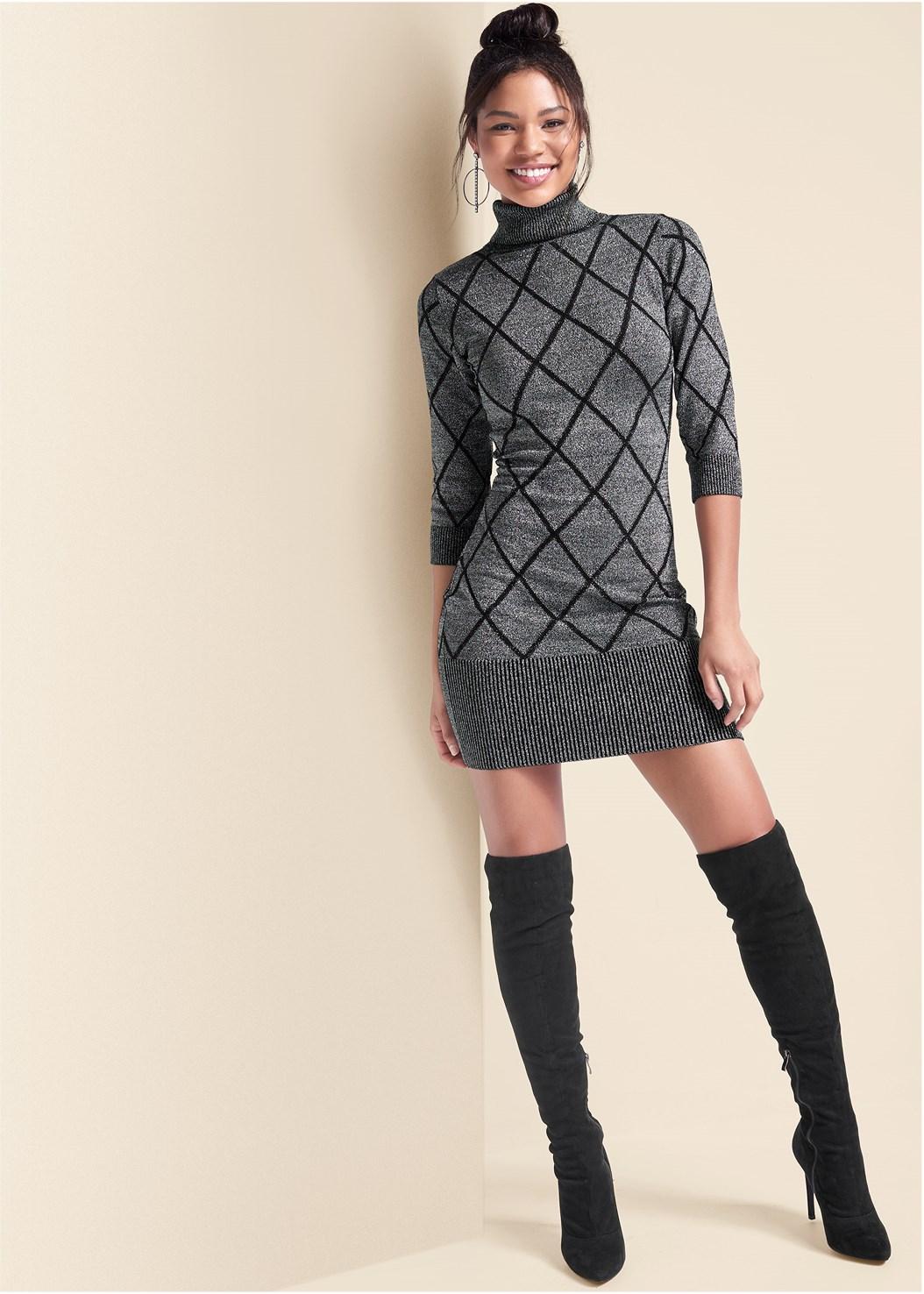 Turtleneck Sweater Dress,Block Heel Boots,Heel Embellished Boot