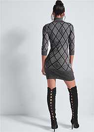 Back View Turtleneck Sweater Dress