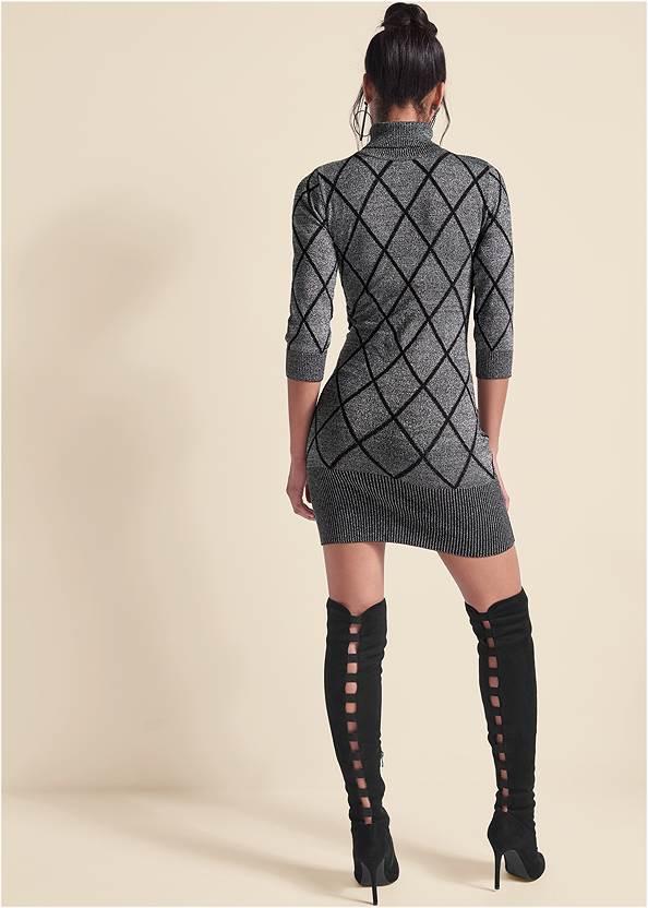 Back View Turtleneck Sweater Dress