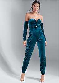 Full front view Velvet Strapless Jumpsuit