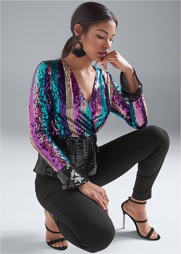 Striped Sequin Peplum Top,Mid Rise Slimming Stretch Jeggings,Embellished Strappy Heel,Beaded Tassel Earrings