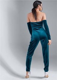 Full back view Velvet Strapless Jumpsuit