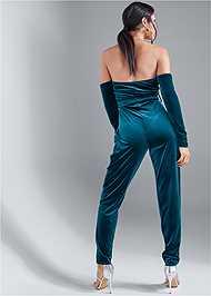 Full back view Velvet Strapless Jumpsuit