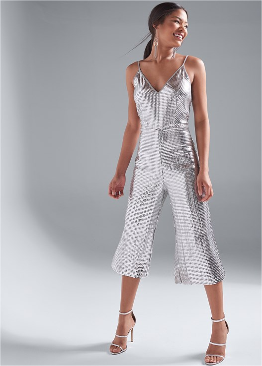 SEQUIN JUMPSUIT,SMOOTH LONGLINE PUSH UP BRA,HIGH HEEL STRAPPY SANDALS