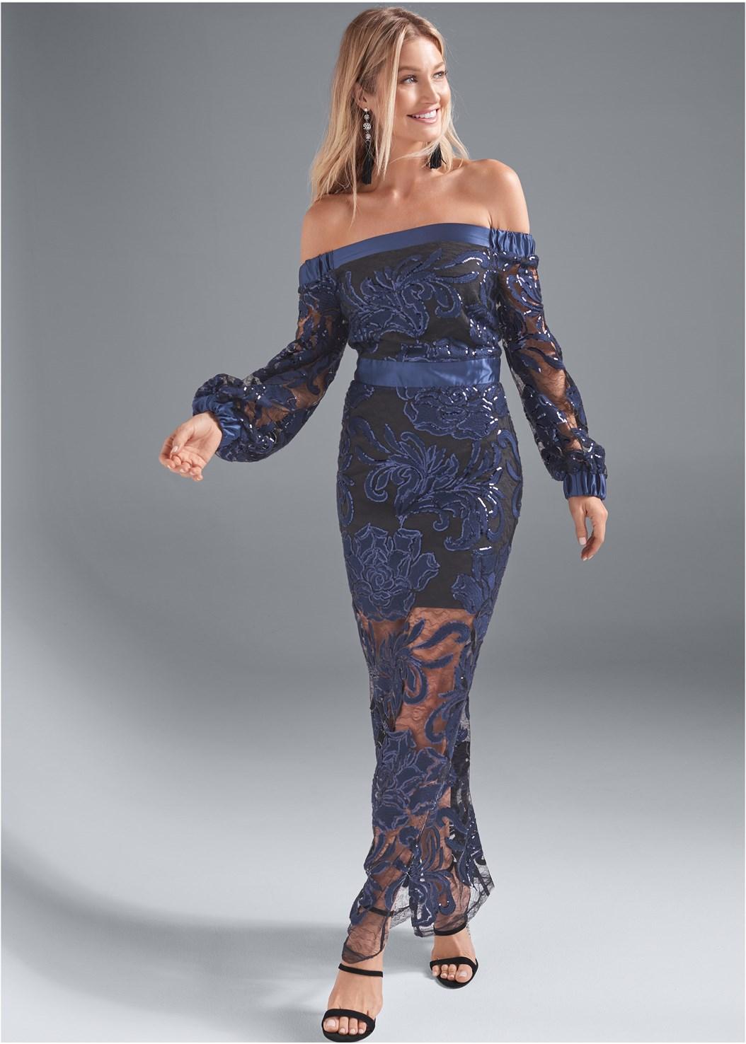 Sequin Gown,Jewel Fringe Earrings