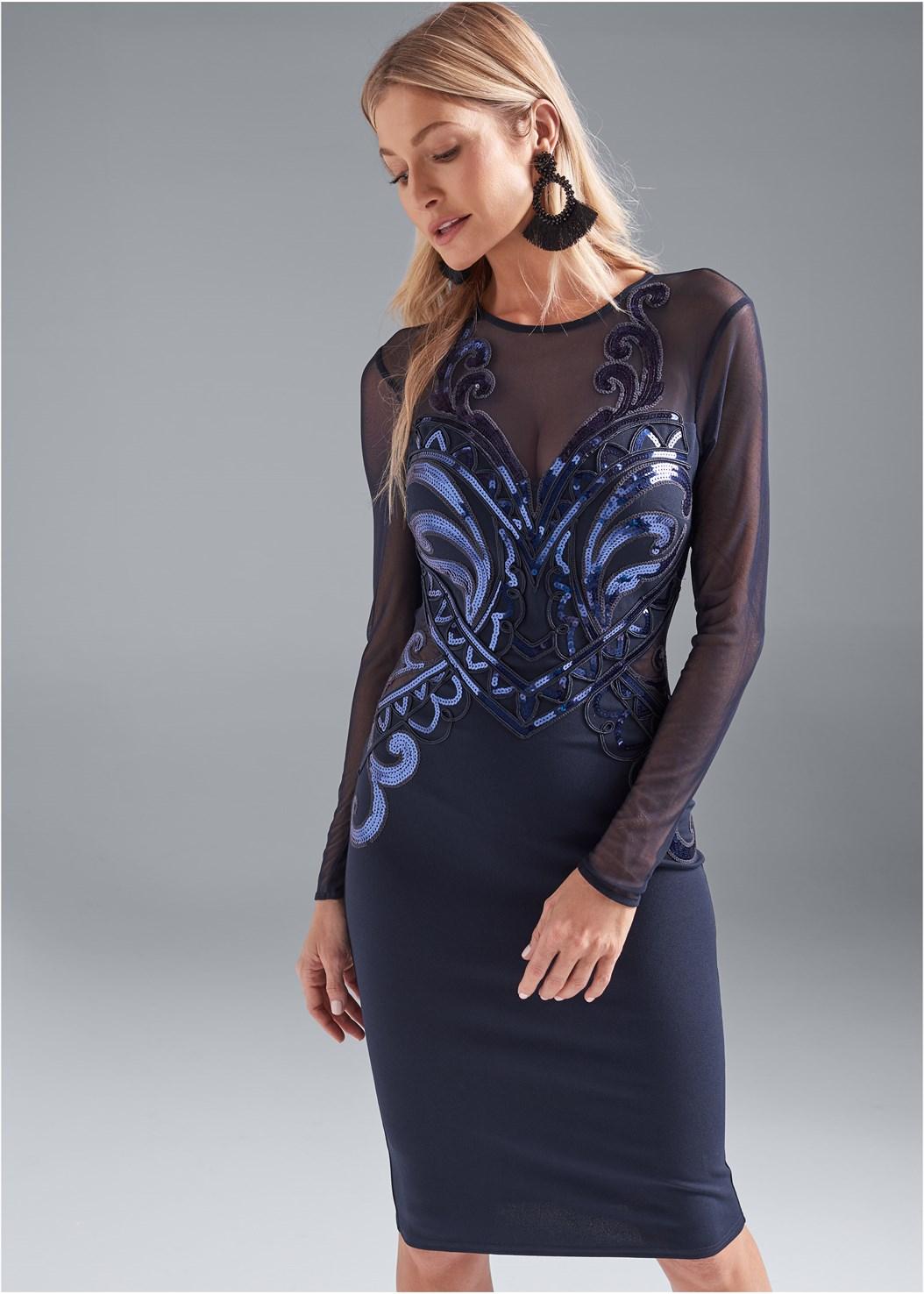 Sequin Bodycon Dress,Embellished Strappy Heel,Beaded Tassel Earrings
