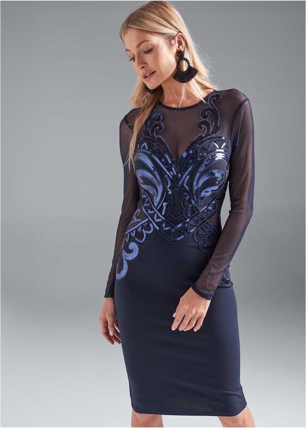 Sequin Bodycon Dress,Beaded Tassel Earrings
