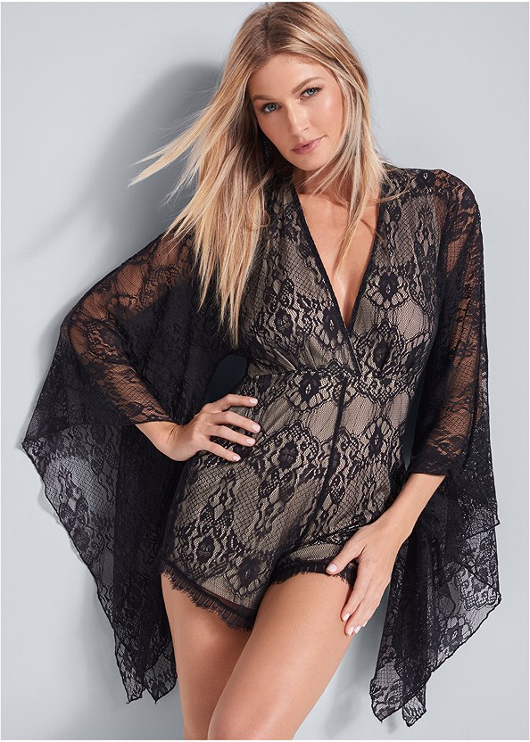 Lace Detail Romper,Kissable Strappy Push Up,Beaded Tassel Earrings