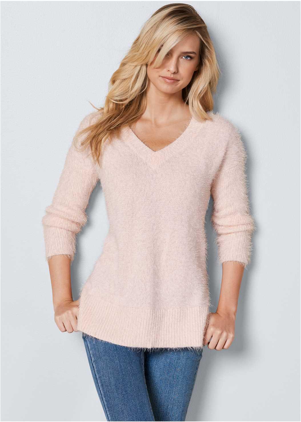 V-Neck Sweater,Mid Rise Color Skinny Jeans,Fringe Scarf