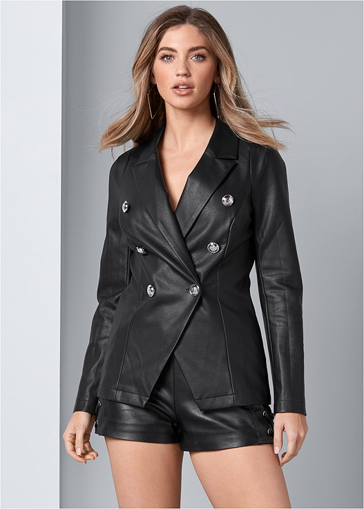 FAUX LEATHER BLAZER,DEEP V BODYSUIT,FAUX LEATHER LACE UP SHORTS,ALL OVER LACE PUSH UP BRA,TIE BACK BOOTS,SQUARE HOOP EARRINGS