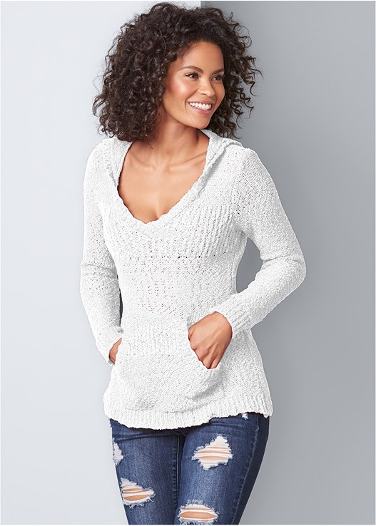 COZY TEXTURED SWEATER,RIPPED BUM LIFTER,WRAP STITCH DETAIL BOOTIES