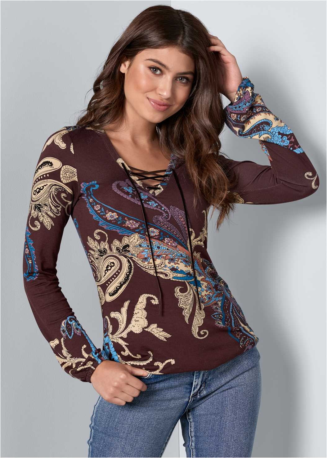 Paisley Print Top,Mid Rise Color Skinny Jeans