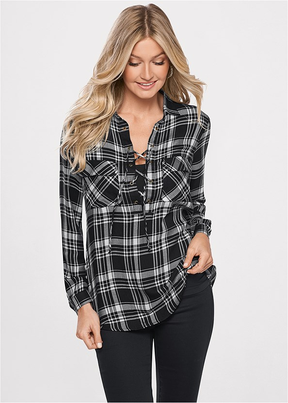 Plaid Lace Up Top,Basic Cami Two Pack,Lace Cami,Mid Rise Color Skinny Jeans,Buckle Riding Boots