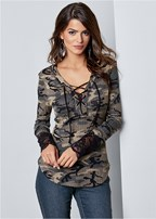 lace detail camo top