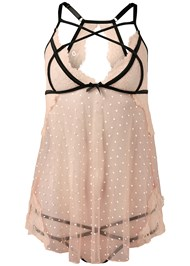 Alternate View Dot Mesh And Lace Babydoll