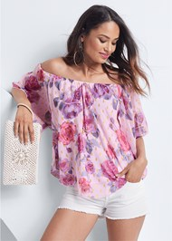 Cropped front view Off The Shoulder Floral Top