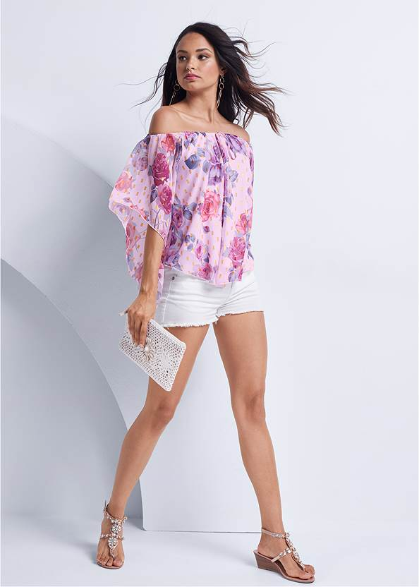 Full front view Off The Shoulder Floral Top