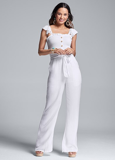 Smocked Linen Jumpsuit