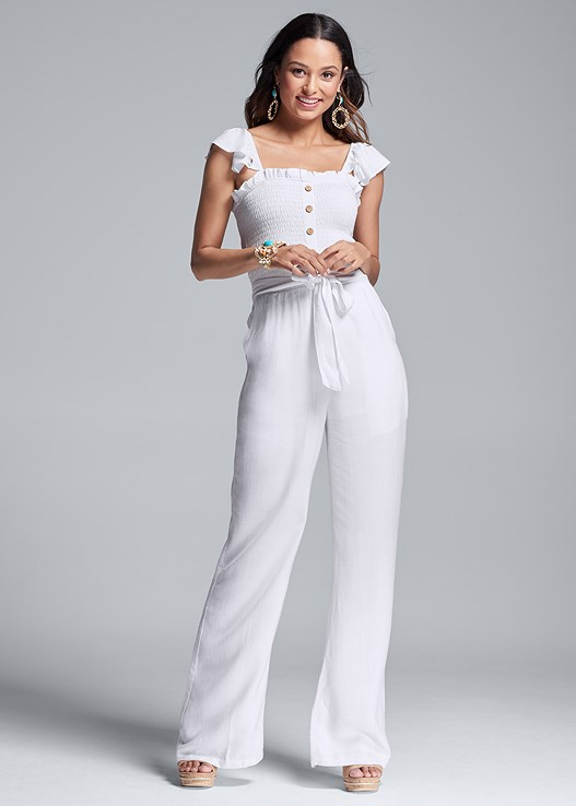 SMOCKED LINEN JUMPSUIT,EVERYDAY YOU LACE CAMI BRA,METALLIC STRIPE WEDGES,BEADED STATEMENT EARRINGS,BEADED CUFF BRACELET,OVERSIZED FRINGE EARRINGS