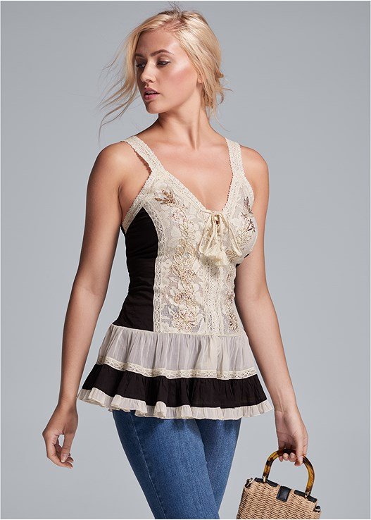 EMBROIDERED LACE UP TOP,DISTRESSED HEM JEANS,STRAPPY HEELS,WICKER STRAW BAG