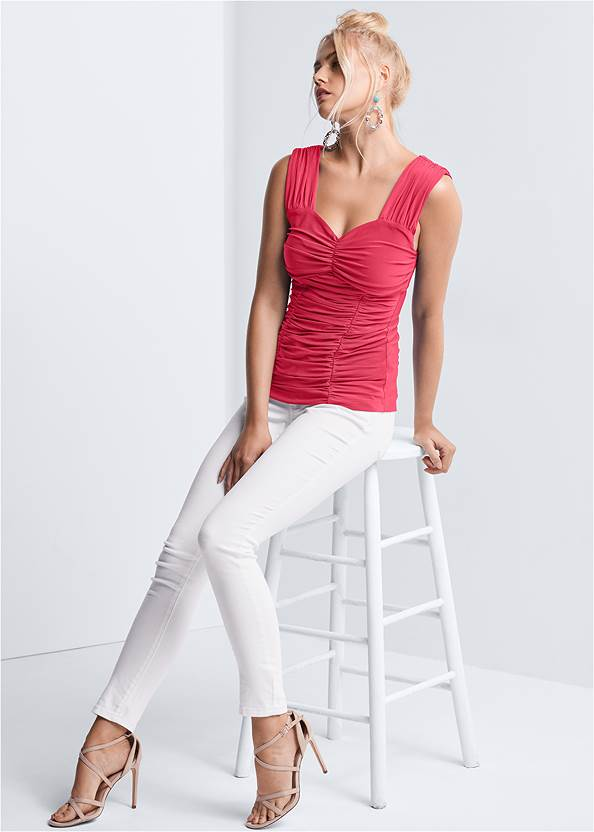 Full front view Ruched Sweetheart Top
