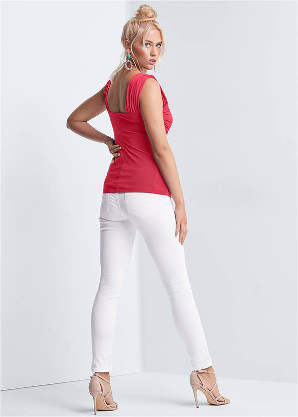Full back view Ruched Sweetheart Top
