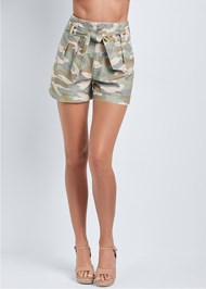Waist down front view Belted Camo Shorts