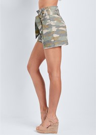 Waist down side view Belted Camo Shorts