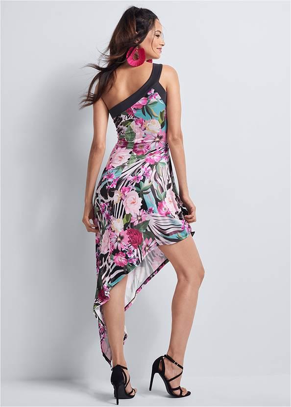 Full back view Tropical Print Dress