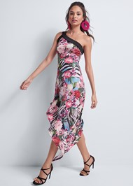 Full front view Tropical Print Dress