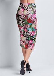 Waist down back view Tropical Print Midi Skirt