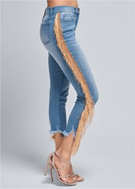Waist down side view Cropped Fringe Trim Jeans