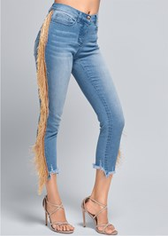 Waist down front view Cropped Fringe Trim Jeans